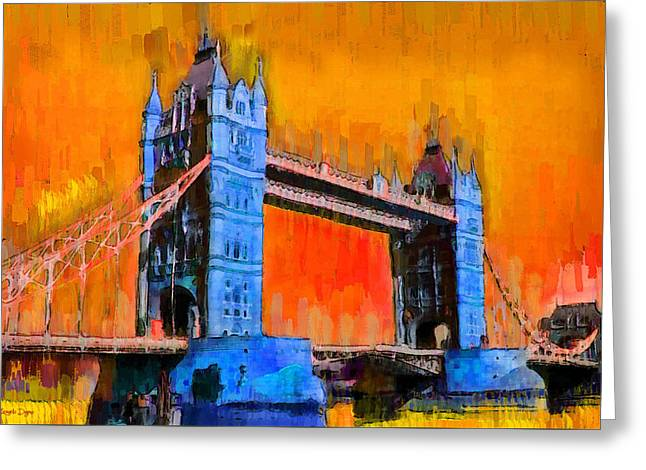 London Tower Bridge 2 - Pa Greeting Card by Leonardo Digenio