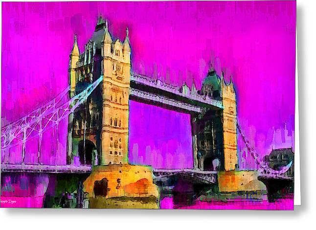 London Tower Bridge 9 - Pa Greeting Card by Leonardo Digenio