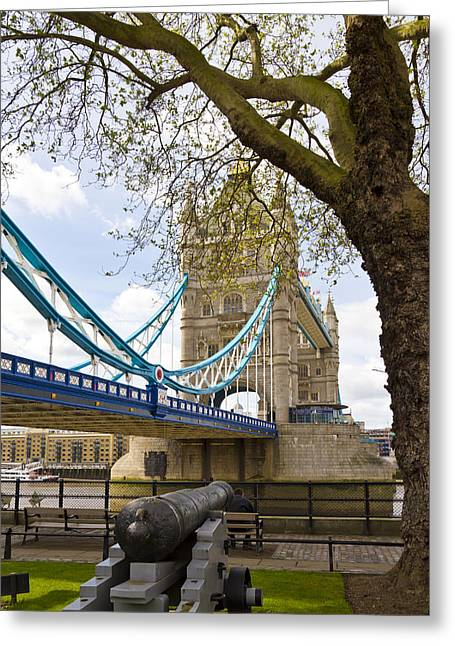 London Tower Bridge And Cannon Greeting Card by Melanie Viola
