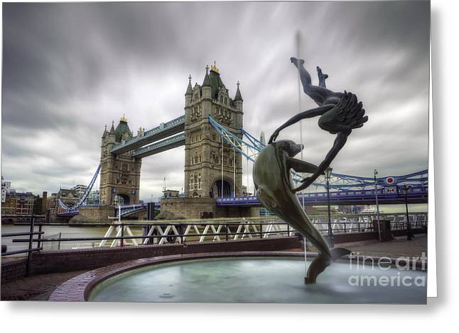 London Tower Bridge And Dolphin Fountain Greeting Card