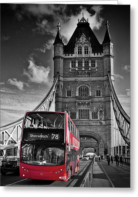London Tower Bridge And Red Bus Greeting Card