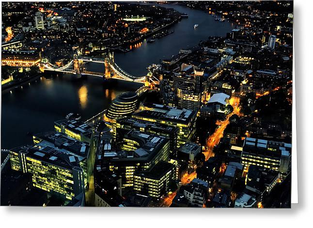 Greeting Card featuring the photograph London Tower Bridge At Night by Chris Feichtner