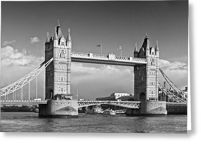 London Tower Bridge Monochrome Greeting Card by Melanie Viola