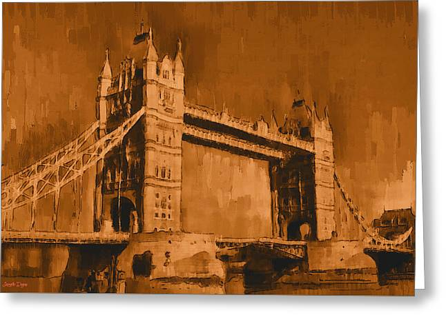 London Tower Bridge Sepia - Pa Greeting Card by Leonardo Digenio