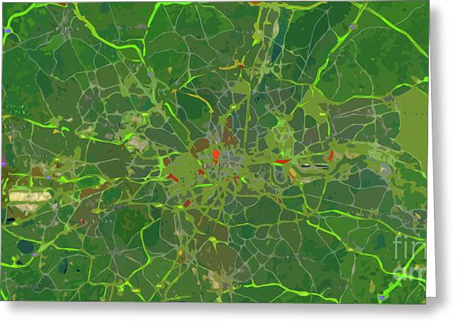 London Traffic Abstract Green Map Greeting Card