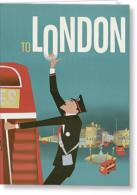 London Travel Poster Greeting Card by Long Shot