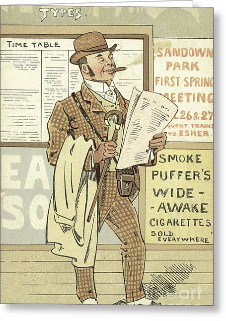 London Types, The Racing Man Greeting Card by Joseph Clayton Clarke