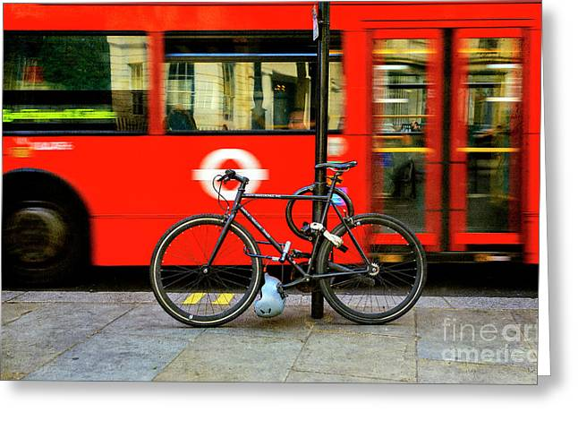 Greeting Card featuring the photograph _london Walking Tours Bicycle by Craig J Satterlee