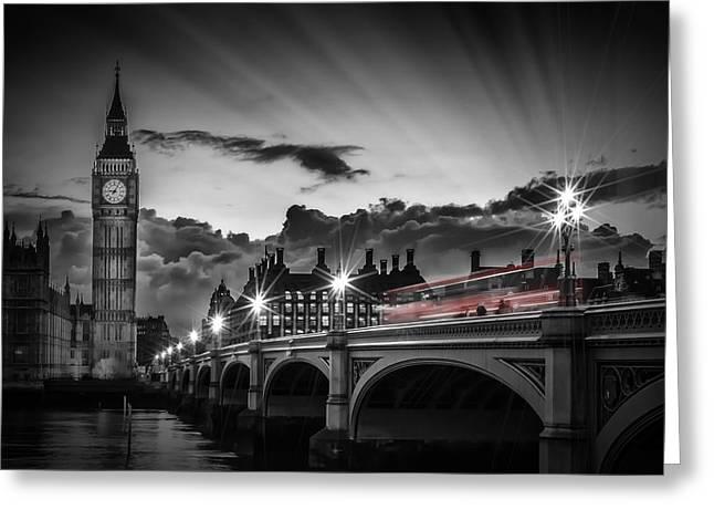 London Westminster Bridge At Sunset Greeting Card by Melanie Viola