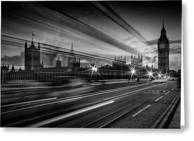 London Westminster Bridge Traffic Greeting Card by Melanie Viola