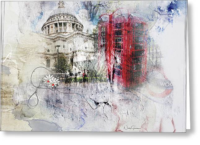 London's Ephemera Greeting Card by Nicky Jameson