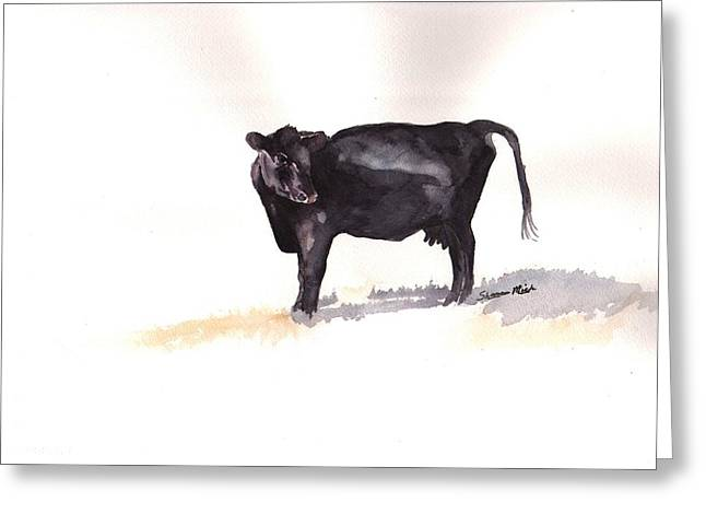 Lone Black Angus Greeting Card by Sharon Mick