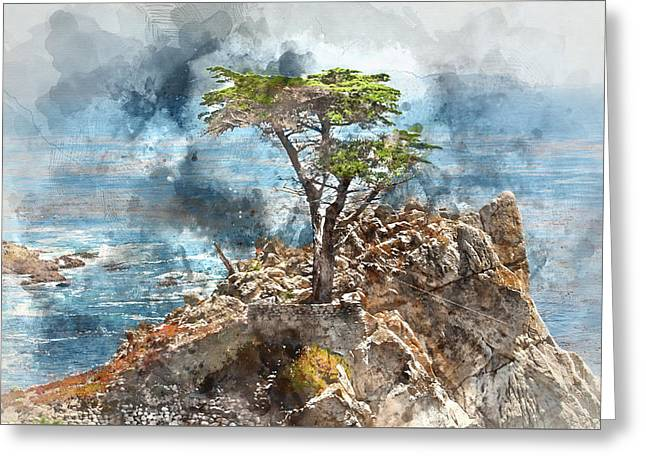 Lone Cypress In Monterey California Greeting Card