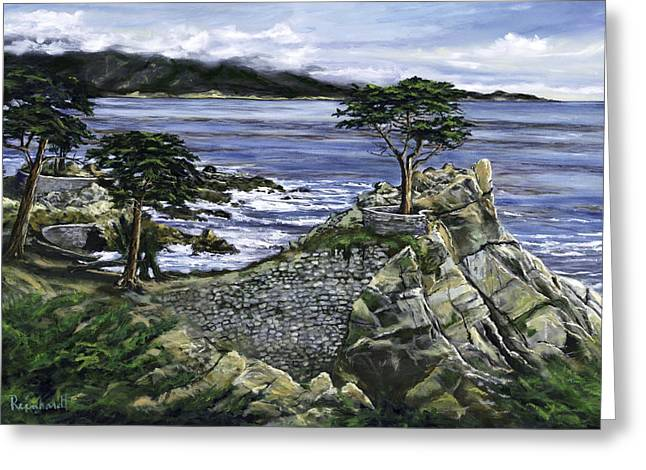 Lone Cypress Greeting Card by Lisa Reinhardt