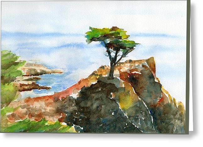 Lone Cypress Pebble Beach Fog Greeting Card