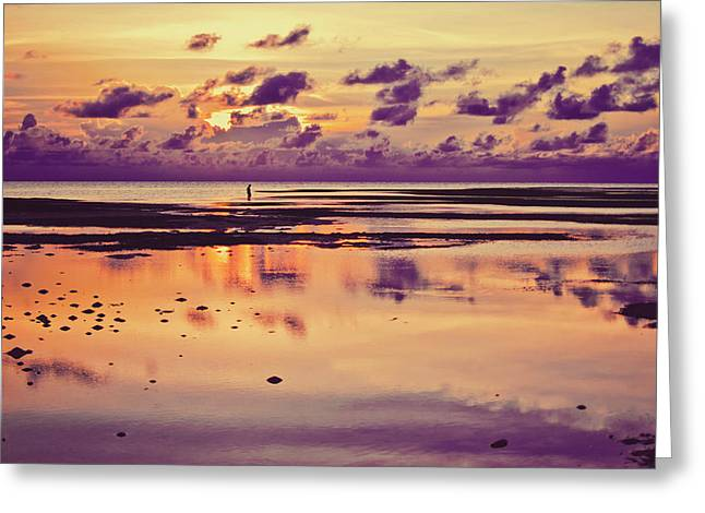 Lone Fisherman In Distance During Beautiful Reflected Sunset With Dramatic Clouds In Maldives Greeting Card