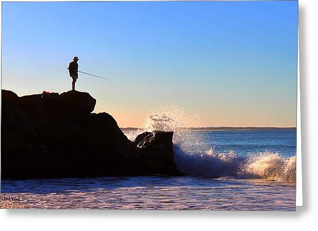 Lone Fisherman - Noosa Heads Greeting Card by Susan Vineyard