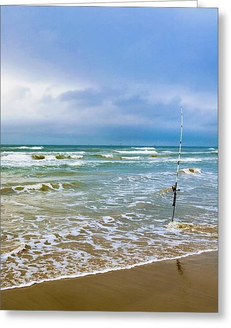 Lone Fishing Pole Greeting Card