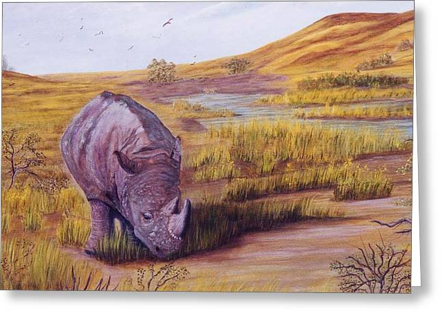 Lone Grazer Greeting Card by Myrna Walsh