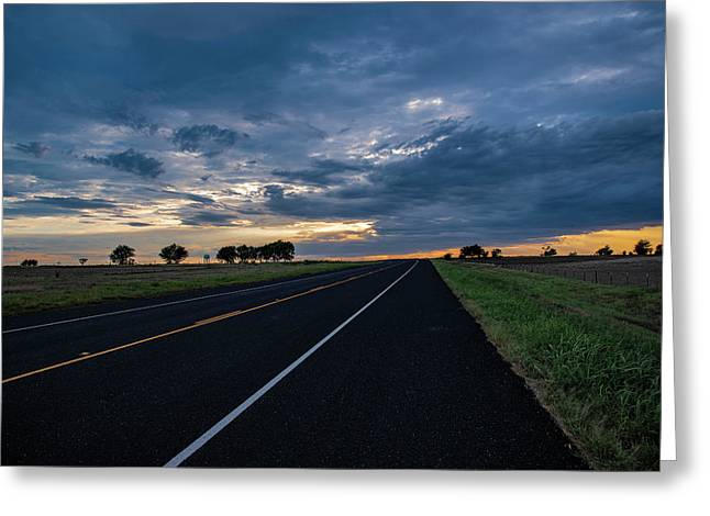 Lone Highway At Sunset Greeting Card