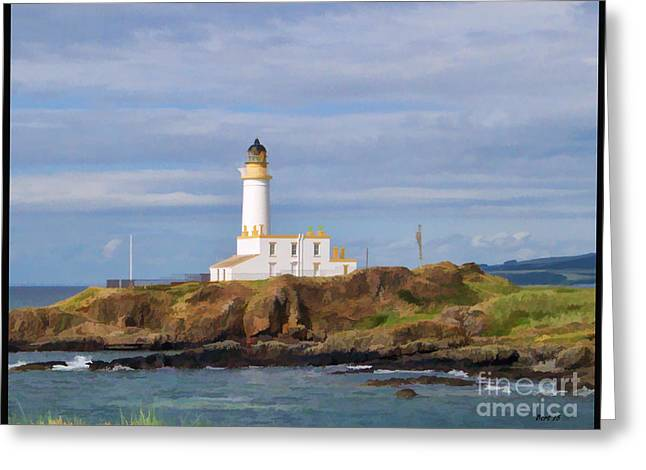 Greeting Card featuring the photograph Lone Lighthouse In Scotland by Roberta Byram