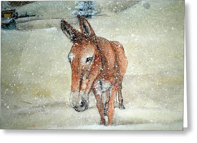 Greeting Card featuring the painting Lone Mule by Debbi Saccomanno Chan