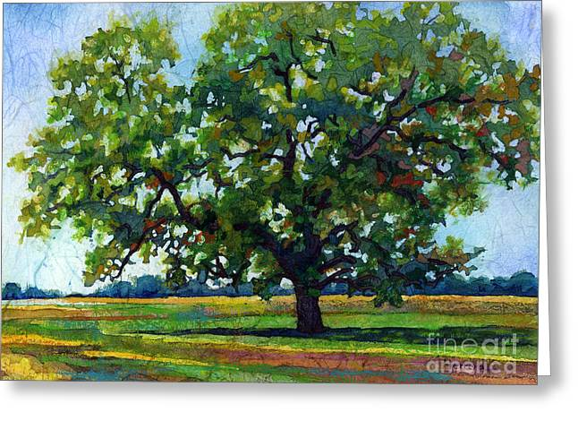 Greeting Card featuring the painting Lone Oak by Hailey E Herrera
