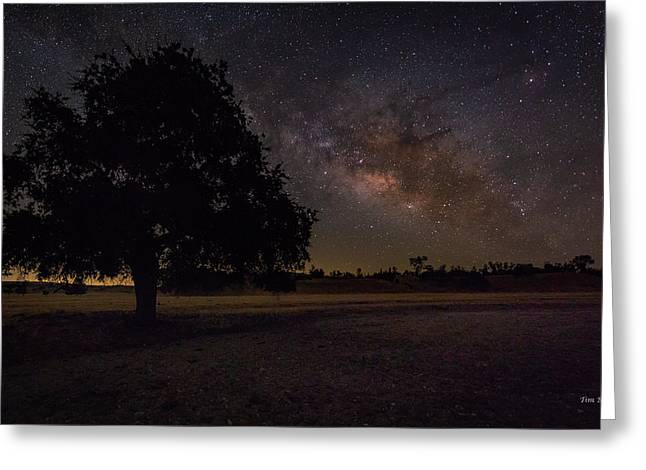 Greeting Card featuring the photograph Lone Oak Under The Milky Way by Tim Bryan