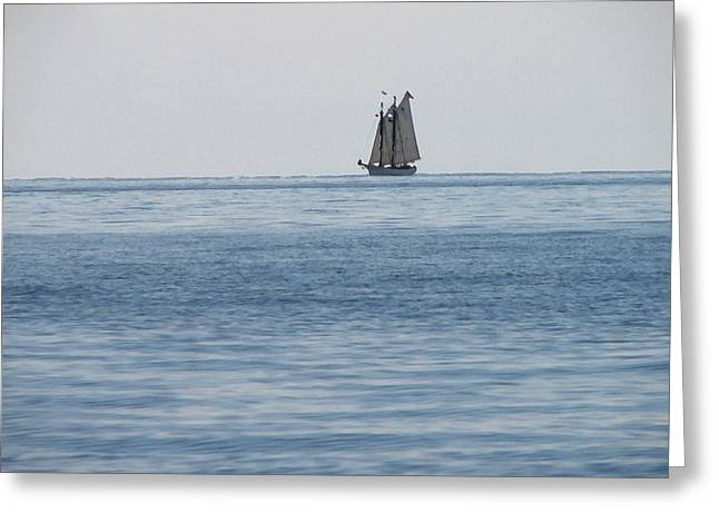 Lone Ship At Sea Greeting Card by Ginger Howland