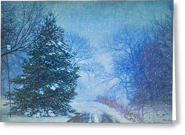 Lone Snowy Lane Greeting Card