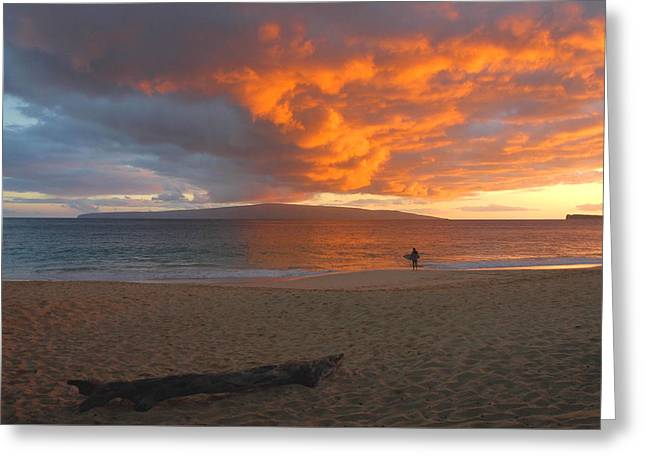 Lone Surfer At Sunset Greeting Card by Stephen  Vecchiotti