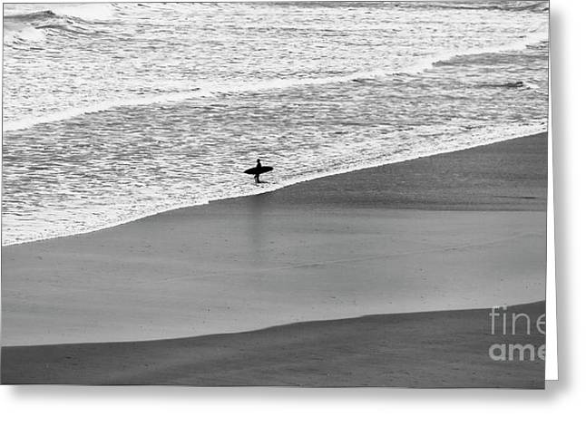 Greeting Card featuring the photograph Lone Surfer by Nicholas Burningham