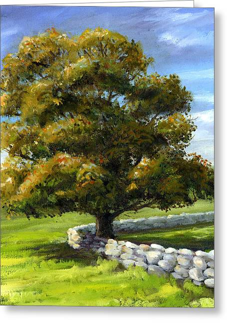 Lone Tree And Wall Greeting Card