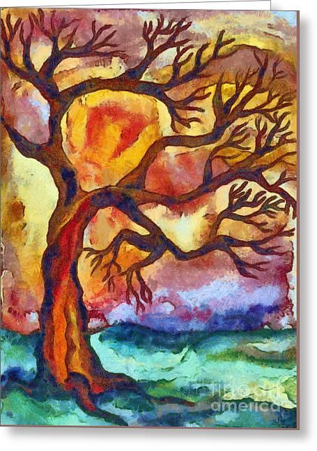 Lone Tree At Sunset Greeting Card
