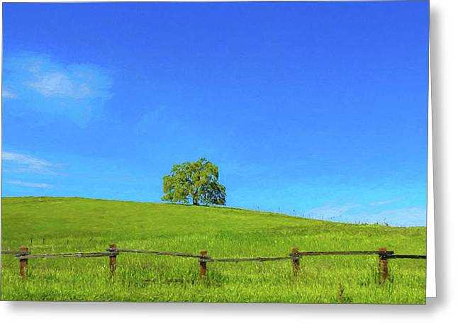 Lone Tree On A Hill Digital Art Greeting Card