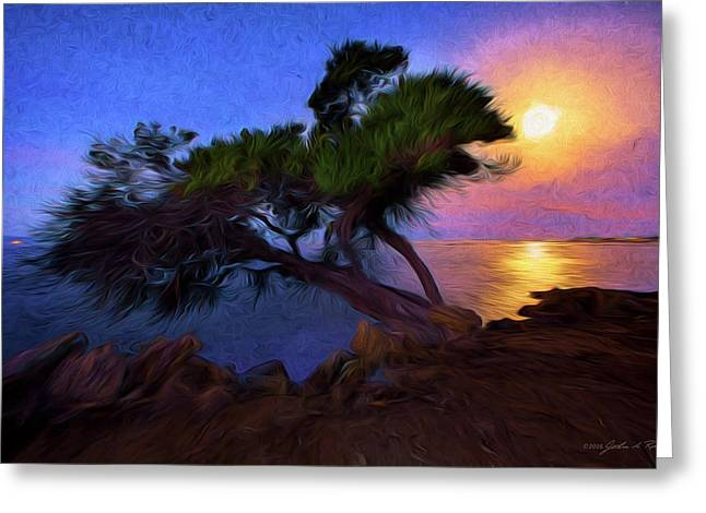 Greeting Card featuring the photograph Lone Tree On Pacific Coast Highway At Moonset by John A Rodriguez