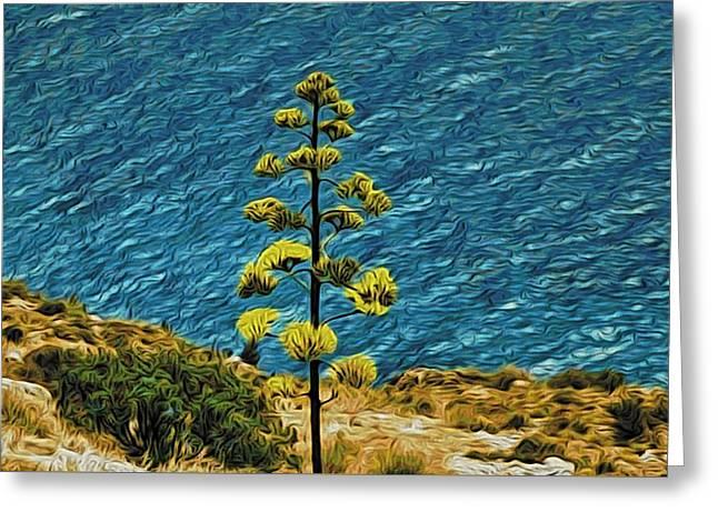 Lone Tree On Seashore Greeting Card by Alexandre Ivanov