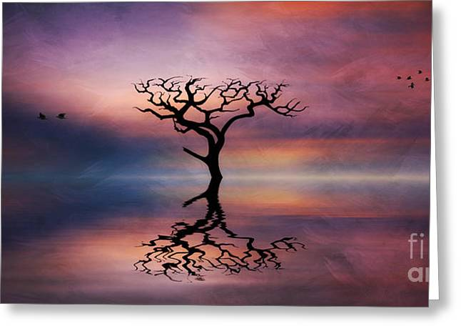 Greeting Card featuring the digital art Lone Tree Sunrise by Ian Mitchell