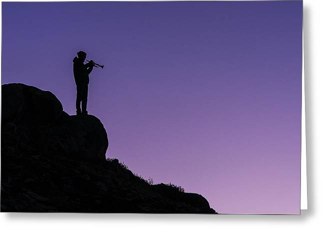 Lone Trumpeter At Sunset Greeting Card