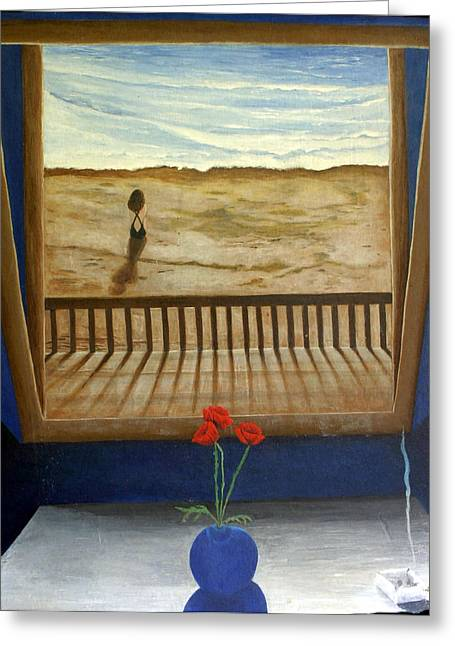 Lonely Beach Greeting Card by Georgette Backs