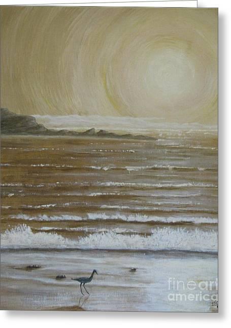 Lonely Beach Sunrise Greeting Card by Dana Carroll