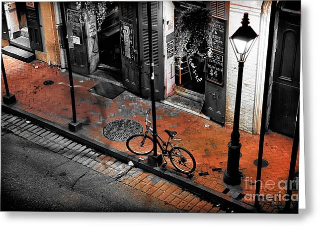 Lonely Bike On Bourbon Fusion Greeting Card by John Rizzuto