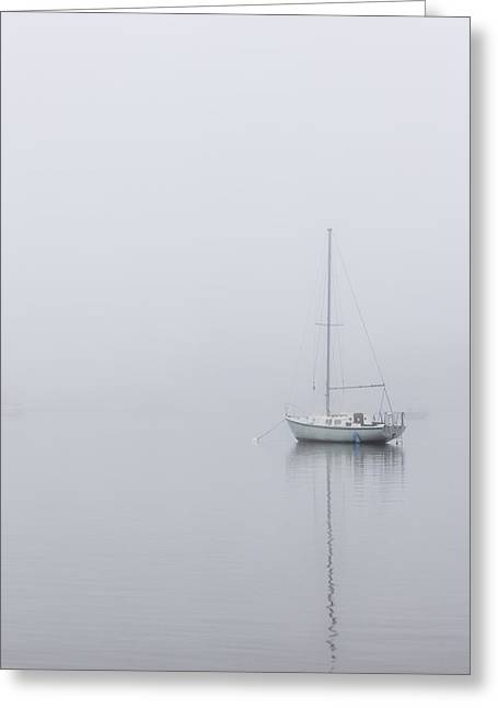 Lonely Boat In The Fog  Greeting Card