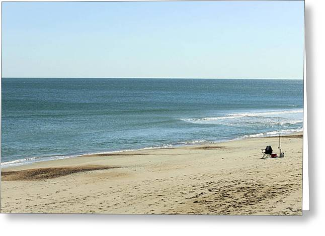 Lonely Chair On The Beach Greeting Card by Carolyn Ricks