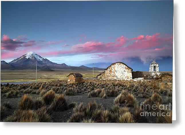 Lonely Church Sajama Volcano And Stormy Altiplano Skies Bolivia Greeting Card