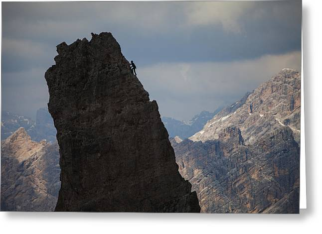 Lonely Climber, Cinque Torri, Dolomites, Italy Greeting Card by Frank Peters