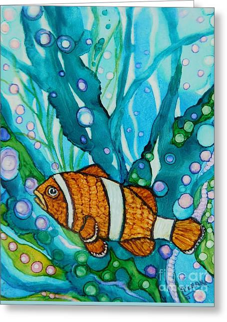Lonely Clown Fish Greeting Card by Joan Clear