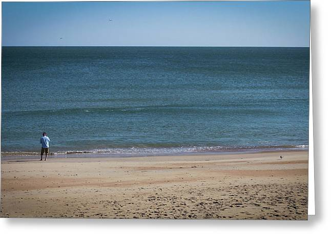 Lonely Fisherman Greeting Card by Carolyn Ricks