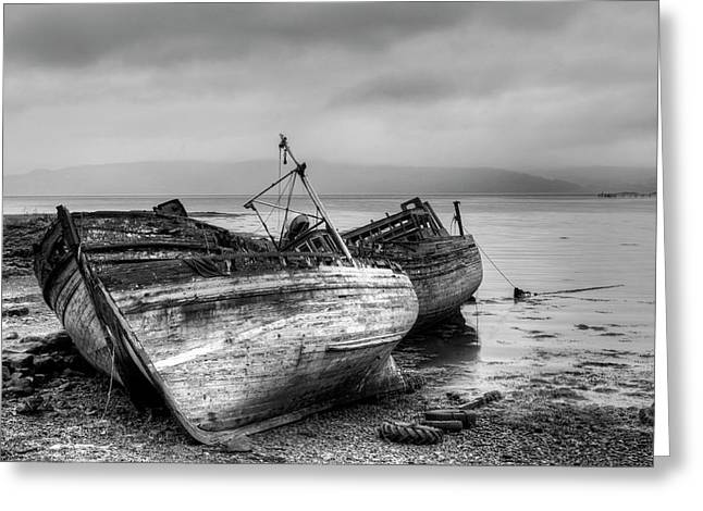 Greeting Card featuring the photograph Lonely Fishing Boats by Michalakis Ppalis