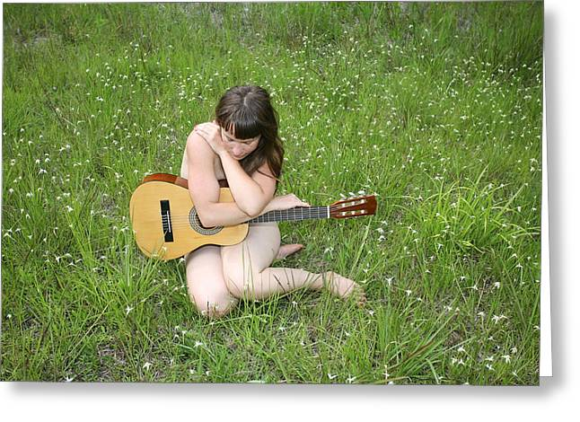 Lonely Guitar Greeting Card by Lucky Cole